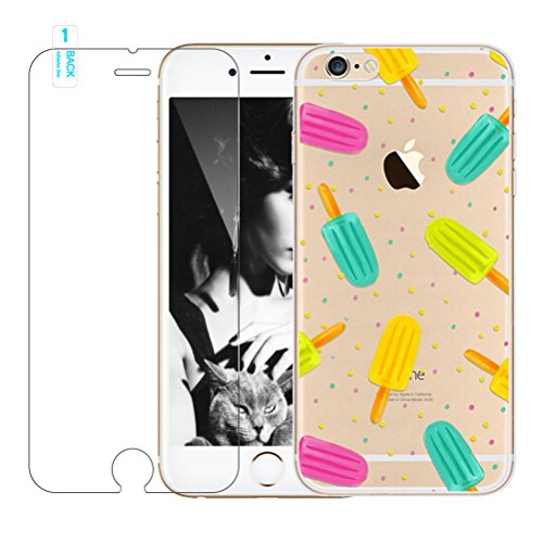 Cover iPhone 7 [Pellicola Protettiva in Vetro Temperato], Bestsky Cute Cartone Animato Colorato Fiore Pattern Trasparente Gel Silicone Bumper Case Custodia Per iPhone 7, Fenicotteri color #07