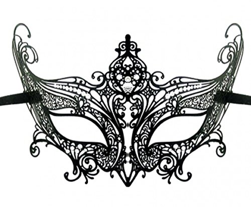 Schwarz venezianischen Masquerade Ballsaal Laser geschnitten Halloween Karneval Masken Gr. L,  - *
