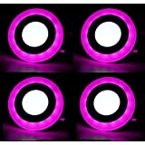 6w Double Color led Panel Light Round Side Pink Color 3D Effect Light (Pack of 04) with Warranty.