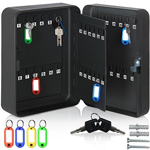 #monzana® Schlüsselkasten | 48 Haken + 48 Schlüsselanhänger | abschließbar| Stahl | Schlüsselschrank Box Tresor Safe#