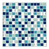 Wandora 4 Stück 25,3 x 25,3 cm Selbstklebende 3D Mosaik Fliesenaufkleber W1439 blau türkis Silber