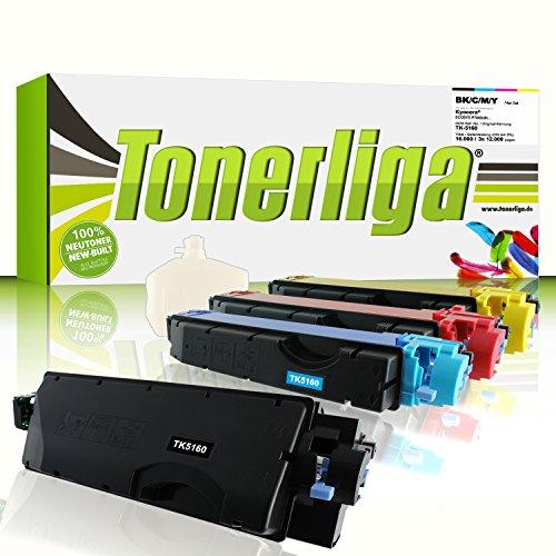 Preisvergleich Produktbild 4X TK-5160 FABRIKNEUE Toner f. Kyocera Ecosys P7040cdn - Schwarz ca. 16.000 Seiten - Farben jeweils ca. 12.000 Seiten - Kompatibel - inkl. 4X Resttonerbehälter