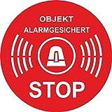 10x Aufkleber Objekt Alarmgesichert rund 50x50 mm ø 50 mm rot