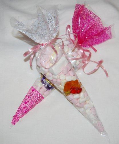 n, Tüten für Süßigkeiten, 36x17cm, Dicke: 45 Mikrometer, durchsichtig mit Muster Weiß / Rosa, 20 Stück ()