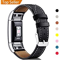 Mornex For Fitbit Charge 2 Band Leather Strap, Classic Adjustable Replacement Wristband for Fitbit Charge 2 Fitness Accessories With Metal Connectors