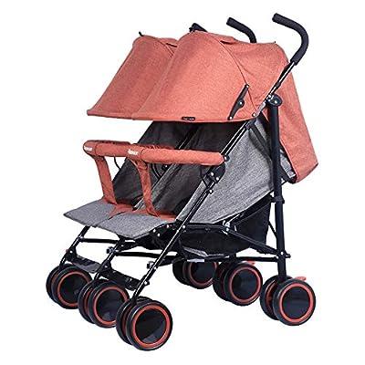 Twin baby stroller zxmpfg Cochecitos para bebés Gemelos, carros de Paraguas Plegables, diseño Compacto, Asientos reclinables multifuncionales, toldos, cestas Grandes para Almacenamiento
