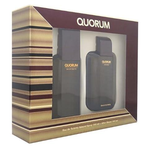 Puig Quorum Eau De Toilette 100ml Spray with Aftershave Gift