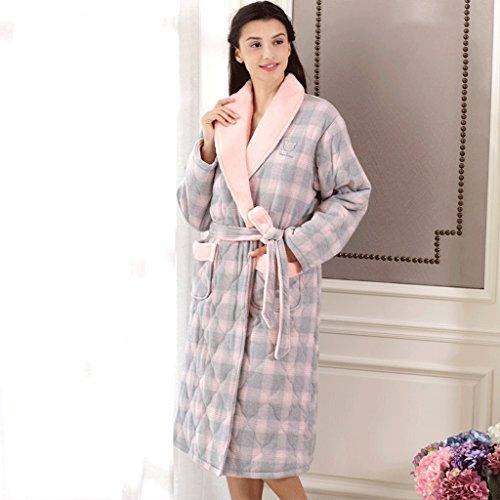 Bademäntel GAOLILI Herbst Winter Saison Abschnitt Dame Verdickung Pyjamas Dreischicht Plus Baumwolle Schlaf Robe Reiner Baumwolle Plaid Home Kleidung (Farbe : Bunte, größe : M)
