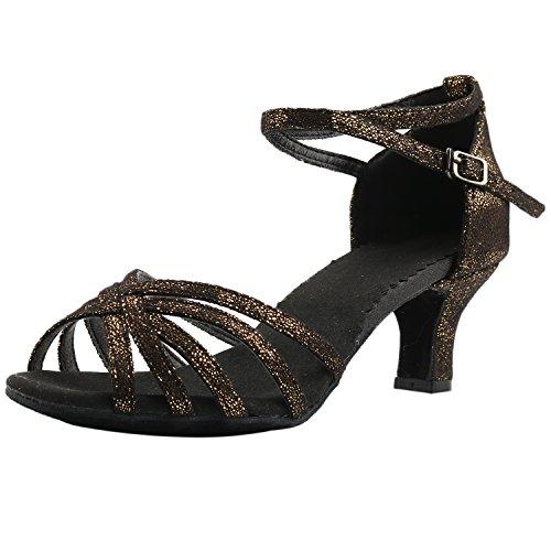 Oasap Women's Open Toe Strap Medium Heels Latin Dance Shoes Black&gold