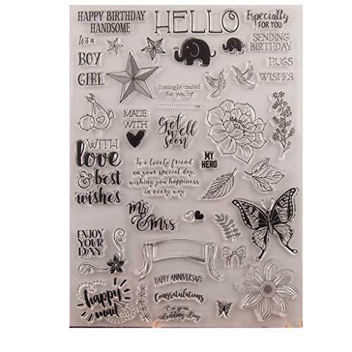 ECMQS Butterfly DIY Transparente Briefmarke, Silikon Stempel Set, Clear Stamps, Schneiden Schablonen, Bastelei Scrapbooking-Werkzeug