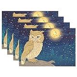SENNSEE Tier Eule Mond Tisch-Sets Home Teller Fußmatte Esstisch hitzebeständig Küche Tisch Matte 30,5x 45,7cm, Polyester, Mehrfarbig, 4 Stück