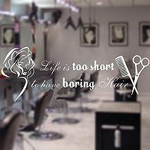 "Personalizado Vinilo de pared Cita la vida es demasiado corto para tener Boring Cabello Pelo Salon Pared Graphic Belleza Mujer adhesivo decorativo para, vinilo, Custom, 22""hx58""w"
