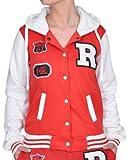 Miss 21 / Melis Fashion Damen College Jacke/Sweatjacke mit Kapuze FOX 61 rot/weiß Größe S/M