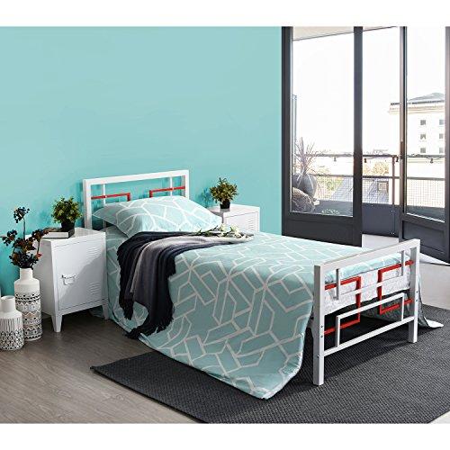 Aingoo Lit Simple en Métal, Matelas de Plate-Forme remplacez Le sommier avec la tête de lit et Les pédales, (90 X 190 CM), Blanc+Rouge