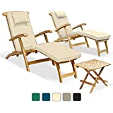 Two Serenity Outdoor Wooden Teak Steamer Chairs with cushions and Picnic Garden Table Set (Natural) - Jati Brand, Quality & Value