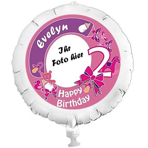o-Ballon 2. Birthday Girl, mit eigenem Foto und Namen, mit Helium befüllbar ()