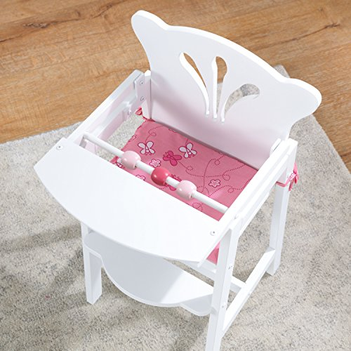 KidKraft 61101 Lil' Doll High Chair - White and Pink Wooden High Chair, kitchen furniture accessory for 45cm / 18 inch dolls