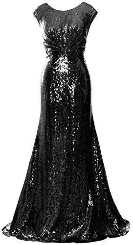 MACloth Elegant Sequin Long Bridesmaid Dress Cap Sleeve Formal Party Prom Gown Black