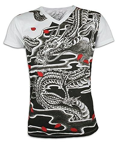 Ako Roshi T-shirt Homme - Koku Ryu Dragon Noir Taille M L XL Japon Tatouage Art Martial Tattoo MMA Kung Fu (M, Blanc)