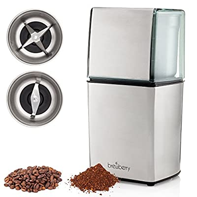 Brewberry Elite Series Electric Coffee Grinder, Espresso and Coffee Mill, For Seeds, Spices, Beans, Nuts, and Herbs, 2 Removable Stainless Steel Cups One for Wet and One For Dry Grind from Brewberry