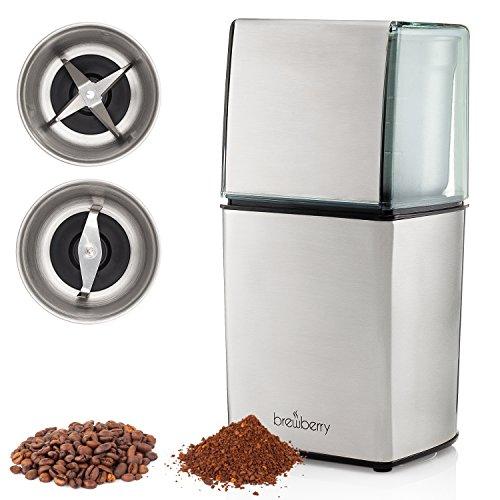 Brewberry Molinillo de Café Eléctrico Serie Élite, Molino de Granos de Café y Especias, Molinillo de Granos de Espresso y Café, 2 Hojas de Alta Precisión y 2 Tazas de Acero Inoxidable Extraíbles