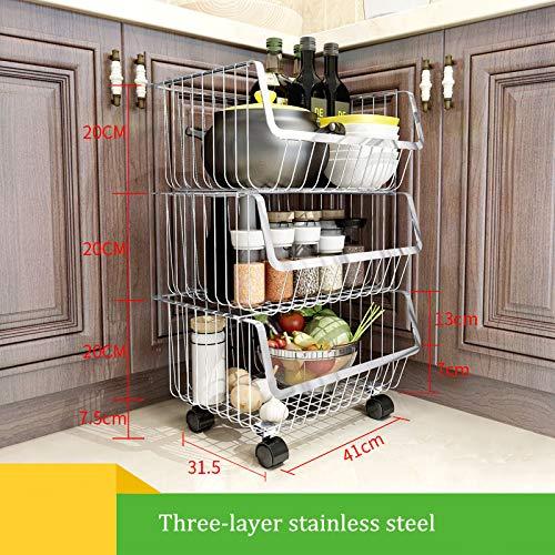 YXLYLL Eckregal Kiuchenregal,Küchen-Handwerks-industrielle Küche abgestufte Draht-Speicherkörbe, Edelstahl-Küchen-mehrschichtiger Speicher-Speicherkorb-Obst und Gemüse Gestell-3 -