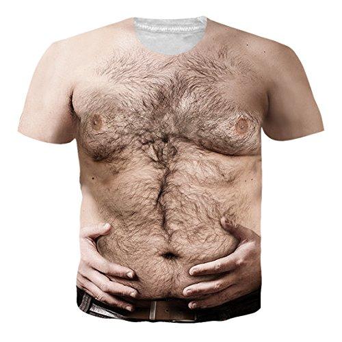 (Loveternal Männer T-Shirts Haarige Brust 3D Gedruckt Casual Grafik Muster Kurzarm Tops T-Shirt L)