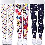 LUOUSE Leggings Fille Pantalons Crayon à Fleurs Collant Enfants Fille Taille élastique Pour 4-10 Ans, 3 paquet