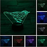Simpatico tavolo da gioco 3D con animali da uccello Lava Lampara LED Night Light Visual Mood RGB 7 Cambia colore Bambini Natale Regalo di Halloween