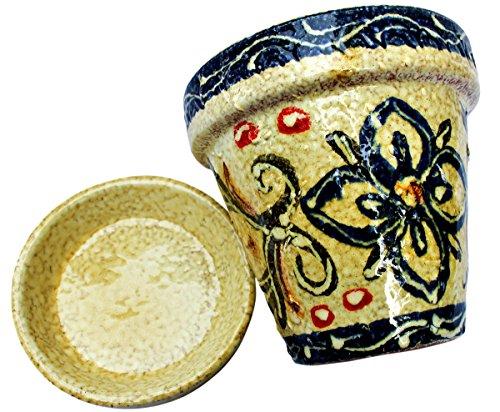 Spanischer Blumentopf mit Untertasse, Keramik, Motiv: spanischer Honig, handbemalt