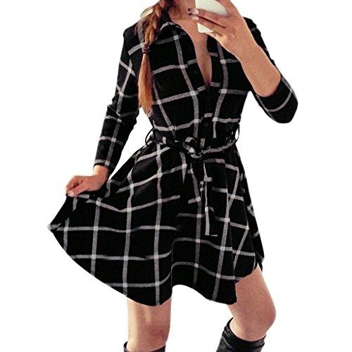 Oderola Damen Dünne 3/4 Ärmel Kleid Kariertes Langarmshirt / Hemdkleid / Shirtkleid / Blusenkleid / Hemdblusenkleid mit Gürtel Schwarz