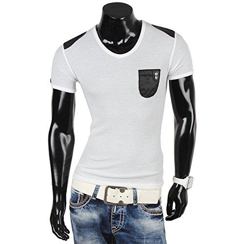 R-NEAL Herren Kurzarm T-Shirt Weiß