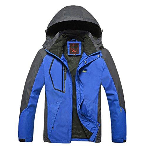 Zhhlinyuan Mens Waterproof Softshell Jacket with Hood Mountain Jacket Raincoat blue