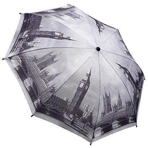 Galleria - Parapluie Pliant Femme - Londres en Noir et Blanc - Ouverture et Fermeture Automatique