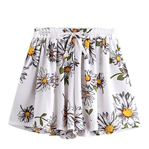 Femme Shorts Casual Jupe Culotte Taille Haute Mini-Short à Fleurs Sexy Imprimé Fleuri Jupes (S=36, Blanc)