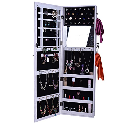 BXSG® 120CM Multifunction Hang In Dall/Wall Jewelry Storage And  Organization ,wooden Full Body Dressing Mirror Jewelry Cabinet 6128 (White)