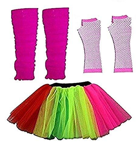 Damen 3 Layer Tutu Set, Beinwärmer & Fischnetz Handschuhe Größe 36-44 ()