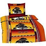 Leonado Vicenti Afrika Terra135 2-teilig Bettwäsche Microfaser 135 x 200 cm, Garnitur Set Kissenbezug Bettbezug mit Reißverschluss