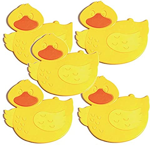 BC Pack of 5 Kids Childs Baby Safety Strong Suction Anti Non Slip Bath Shower Mats (Yellow Ducks)