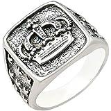 خاتم رجالي الفضة 925 مزين بصورة تاج