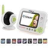 SUNLUXY® 3,5 Zoll Farb Wireless Baby Monitor Babyphone Überwachungskamera mit Nachtsicht, 2-Wege Audio, Wiegenlied, Nachtlicht, Batterieanzeige, Drehbare Kamera Weiß+Grün