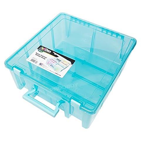 Artist's Large Tool Box Blue Plastic Deep Carry Case Art Pencil Storage Caddy