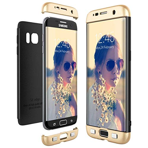 Lucky phone Compatible Coque pour Samsung Galaxy S7 Edge,Samsung Galaxy S7 Edge Housse 360 Protection Cover Étui PC Case 3 en 1 Dur Anti-Rayures Anti-Choc Ultra-Mince Matte Coquille,Or Noir