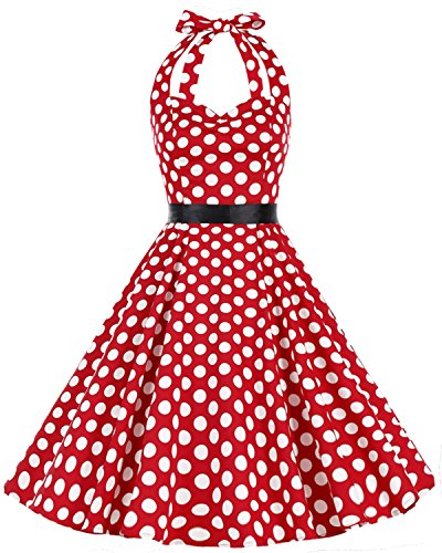 Neckholder Vintage Retro Rockabilly Cocktail Party Kleider Red White BDot 4XL (Baumwolle Plus Größe Kostüme)