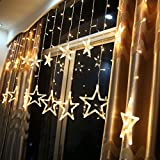 DESHIR Star Curtain Lights 12 Stars 138 LEDs Curtain String Lights Stars Christmas Lights Perfect Decoration for Wedding, Christmas, Holiday, Parties and Home (Warm White) UK Plug