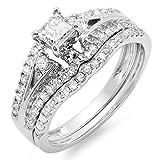 Damen Ring / Ehering IGI Zertifizierte 1.15 Karat 14 Karat Weißgold Princess & Rund Diamant Damen Ring / Ehering Verlobungsring Set