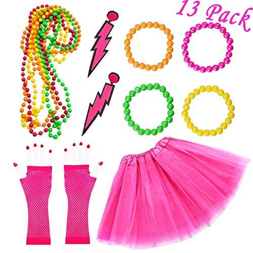 80er Kostüm Frauen Kunststoff Neon Erwachsener Tutu Fischnetz Handschuhe Neon Halsketten Armbänder Spitze Bogen Stirnband Blitz Ohrringe 1980er 1970er Party Kleid für Mädchen Frauen Night Out Party