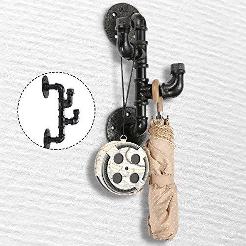 king do way Gancho de Pared Retro de Metal, Ganchos para Casa Cocina, Dormitorio Perchero Sombrero/Toalla, Estilo Industrial Vintage Industrial Pipe Hooks (1 Set)