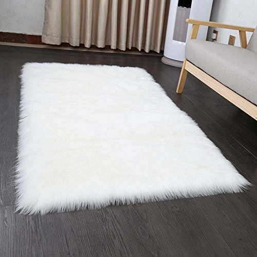 Faux pelliccia di agnello di pecora tappeto 50 x 150 cm tappeti soggiorno elastico capelli lunghi effetto pelliccia accogliente pecora sagomato letto divano matte, bianco