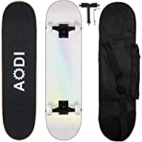 "AODI Pro Skateboards 31""x8"" Standard Complete Skateboards Canadian 7 Layer Maple Wood Kick Cruiser Skate Board for Adults, Teens, Youth & Kids"
